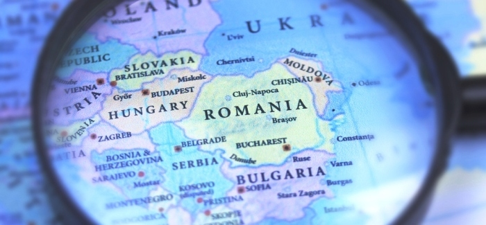 Map with Romania and surrounding countries.