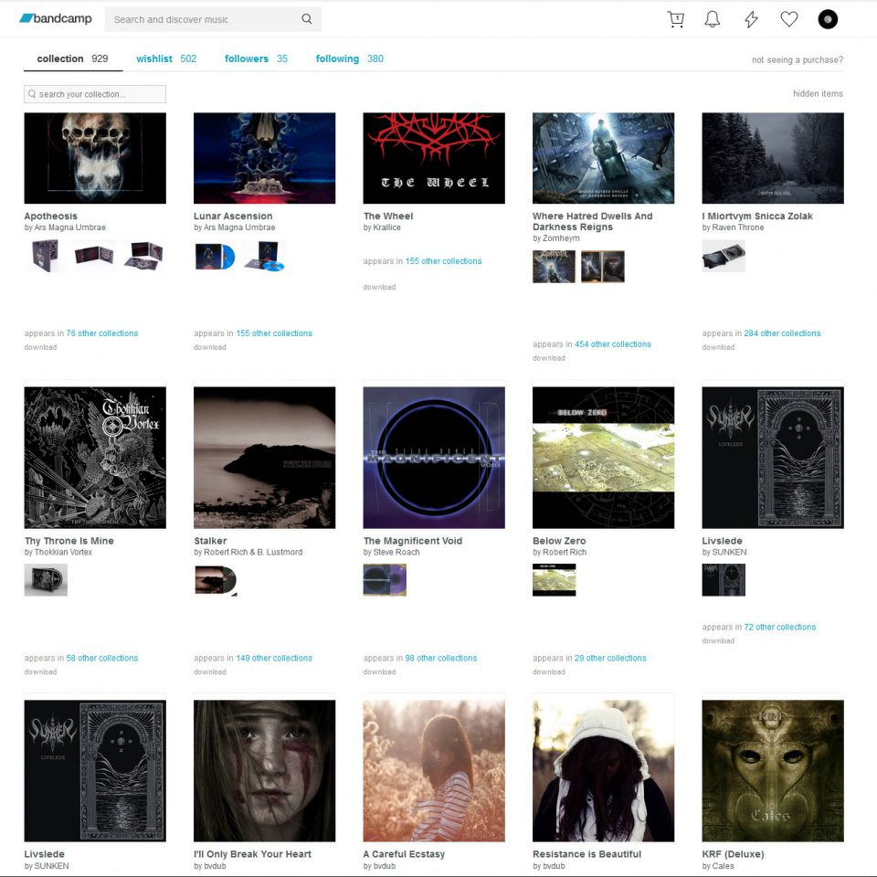 Screenshot sample of my Bandcamp collection